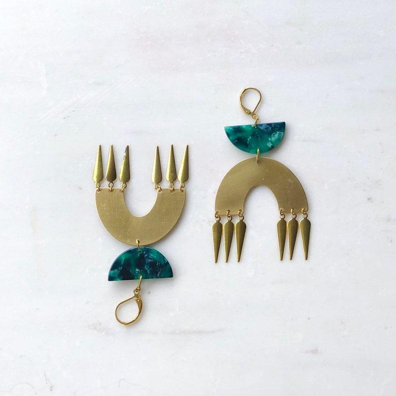 Bold Green and Gold Boho Earrings Rainbow earrings Green image 0