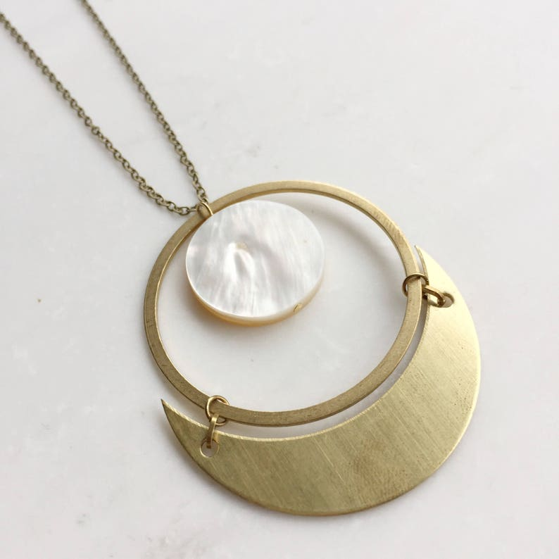 Crescent moon and mother of pearl statement necklace image 0
