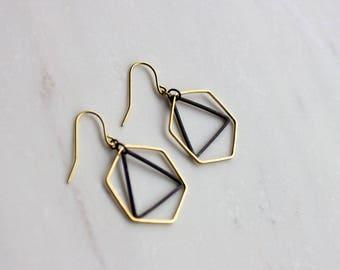 Hexagon and triangle earrings, honeycomb earrings, black and gold earrings, gift  her, Bridesmaid earrings, Christmas gift, stocking stuffer
