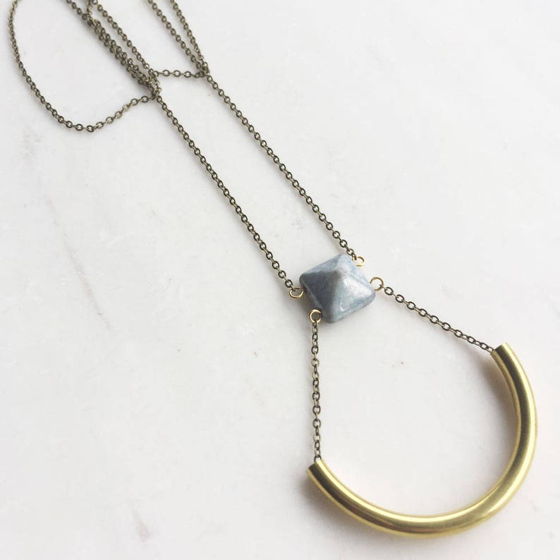 Blue and Gold Crescent Necklace long boho necklace blue bead image 0