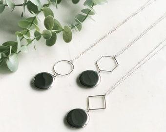 Silver geometric locket, locket necklace, silver modern locket, Modern locket, gift for her, Personalized Gift, photo locket, Christmas gift