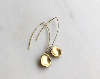 Gold petal earrings, drop earrings, minimalist