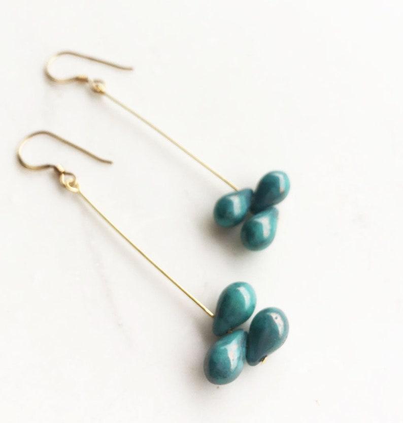 Blue Drop Earrings blue and gold drop earrings dangle image 0