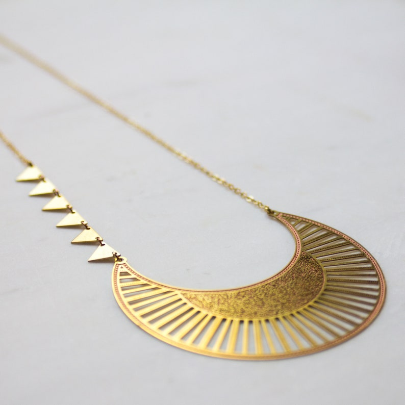 Crescent Moon Necklace ethnic jewelry statement necklace image 0
