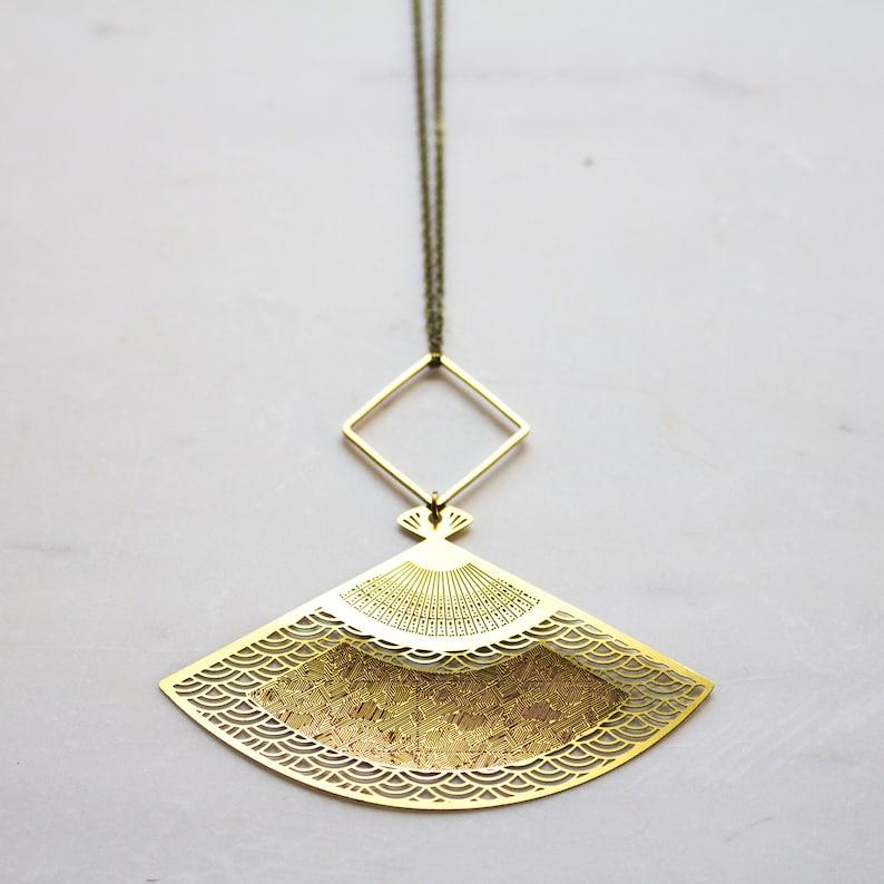 Japanese Fan Necklace Long Boho Necklace Brass Fan Necklace image 0