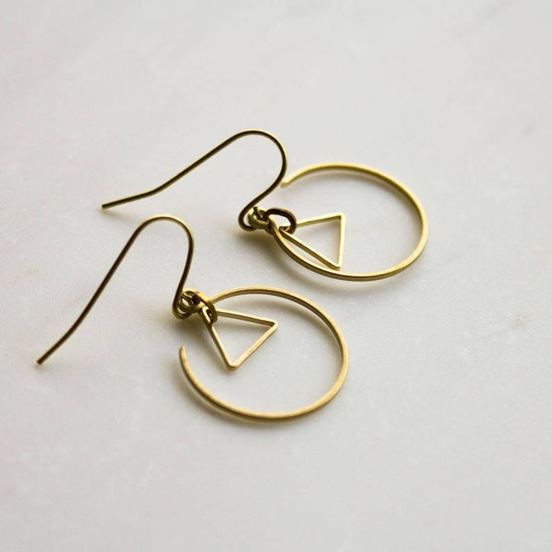 Gold Triangle Earrings Gold circle earrings geometric image 0