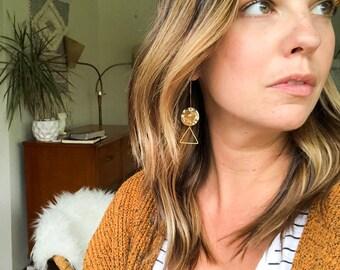 Yellow geometric drop earrings, long triangle earrings, yellow triangle earrings