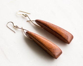 Wood Earrings, Gold and wood earrings, boho jewelry, unique earrings, Statement Earrings, wood jewelry, gift for her mom, tribal jewelry