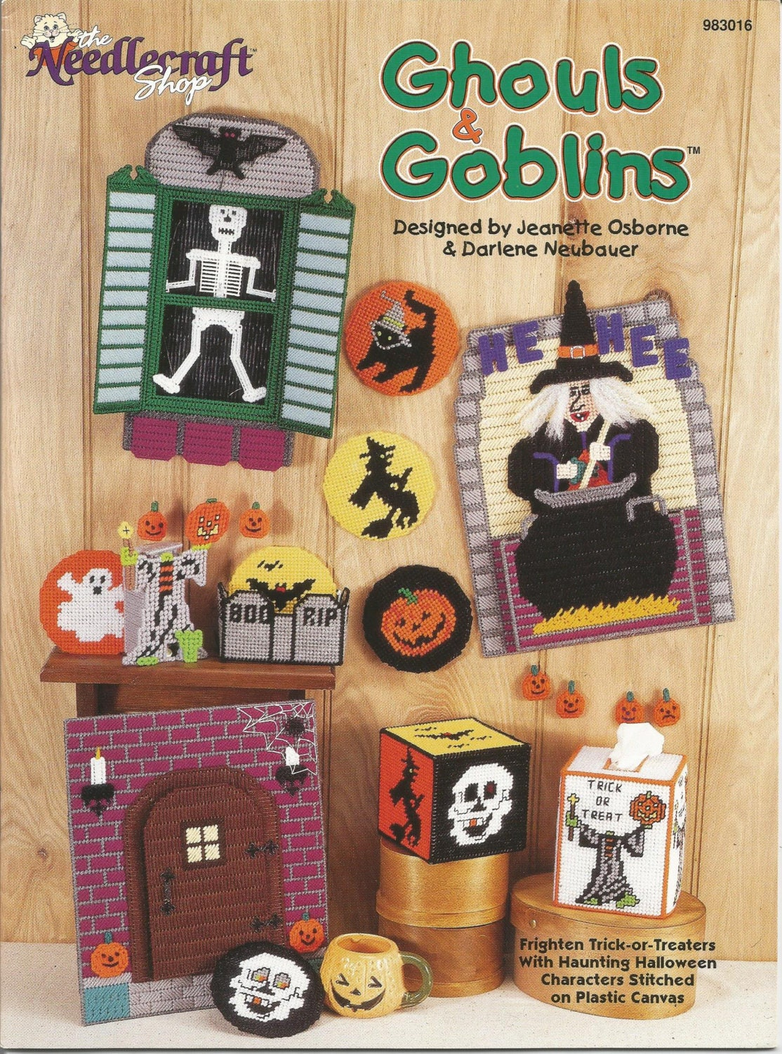 ghouls & goblins patterns plastic canvas patterns halloween | etsy