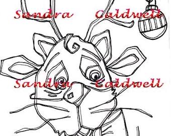 1186 Kitty Reindeer Christmas Digi Stamp
