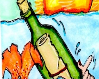 2296 Message in a Bottle Digi Stamp