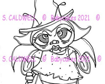 3760 Bee a Vampire Witch Digi Stamp