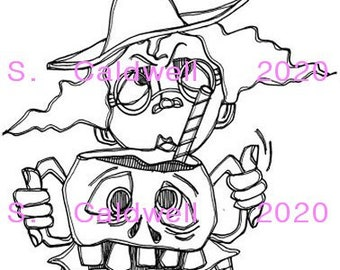 3302 Witch Sippy Cup Digi Stamp