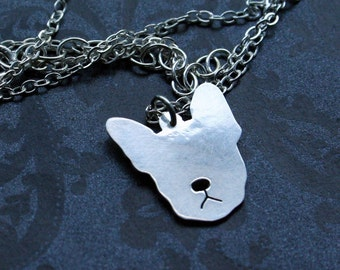 Sterling Moosh face Necklace - french bulldog or boston terrier
