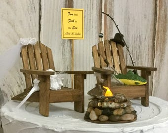 Fishing Cake Topper, Wedding Camping Trip, Fishing Pole, Bride And Groom,  Lighted Campfire Wedding Cake, Rustic, Hunting Adirondack Chairs