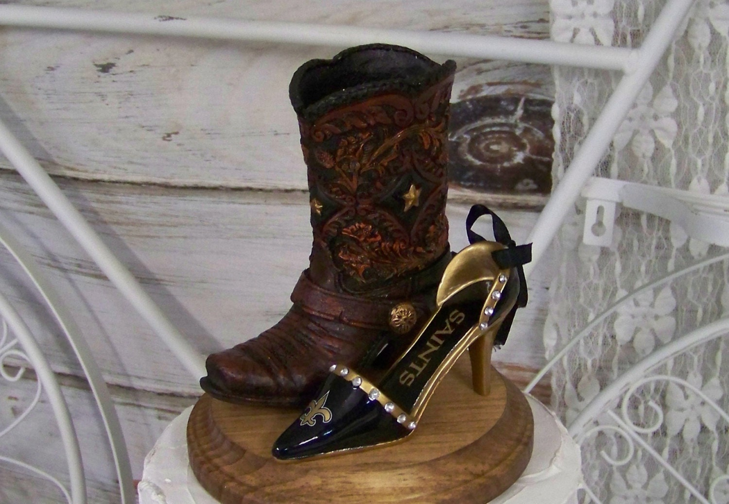 353fc93f New Orleans Saints Wedding Cake Topper-Western Cowboy Boots with Saints  Stilettos-Groom's Cake Topper