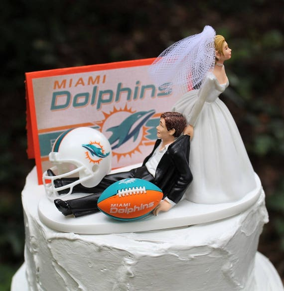 Remarkable Miami Dolphins Wedding Cake Topper Football Cake Etsy Personalised Birthday Cards Paralily Jamesorg