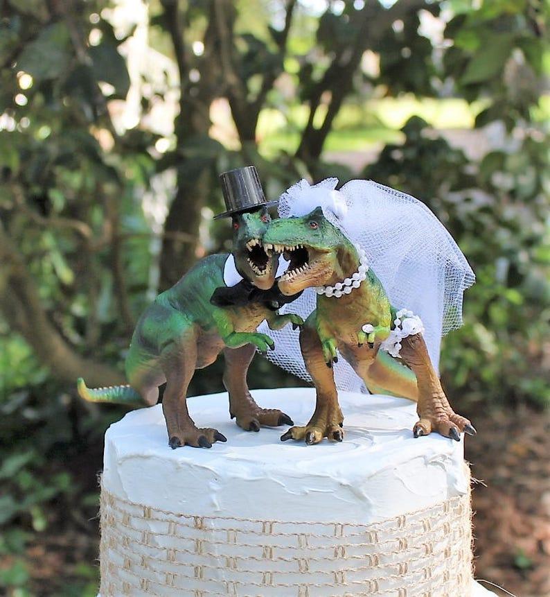 Dinosaur Wedding Cake Topper T-Rex Cake Topper | Etsy