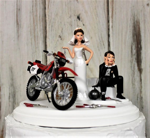 Motorcycle Wedding Cake Topper Bride And Groom Honda Dirt