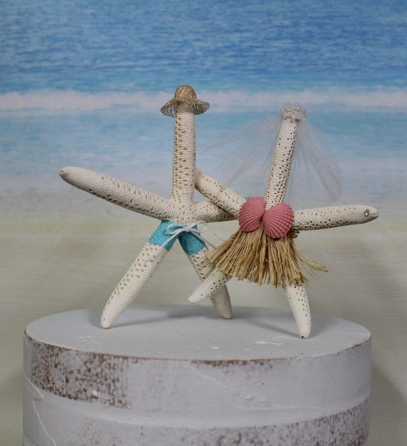 Beach Wedding Cake Topper Starfish Sea Ocean Handpainted Bride Groom Destination Unique Funny