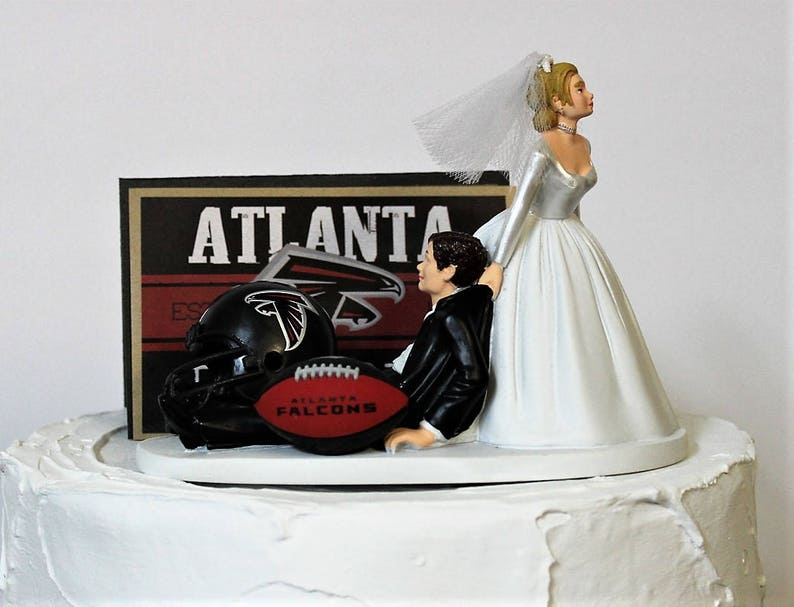 Football Wedding Cake Topper NFL Atlanta Falcons Fans Bride And Groom Funny Draggin Grooms