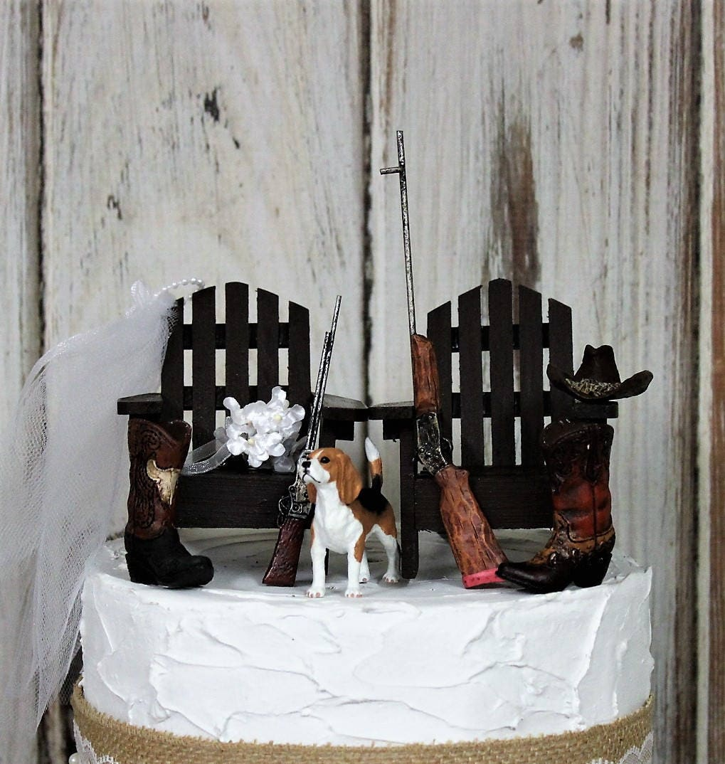 Hunting Wedding Cake Topper With Dog Grooms Cake Topper Etsy