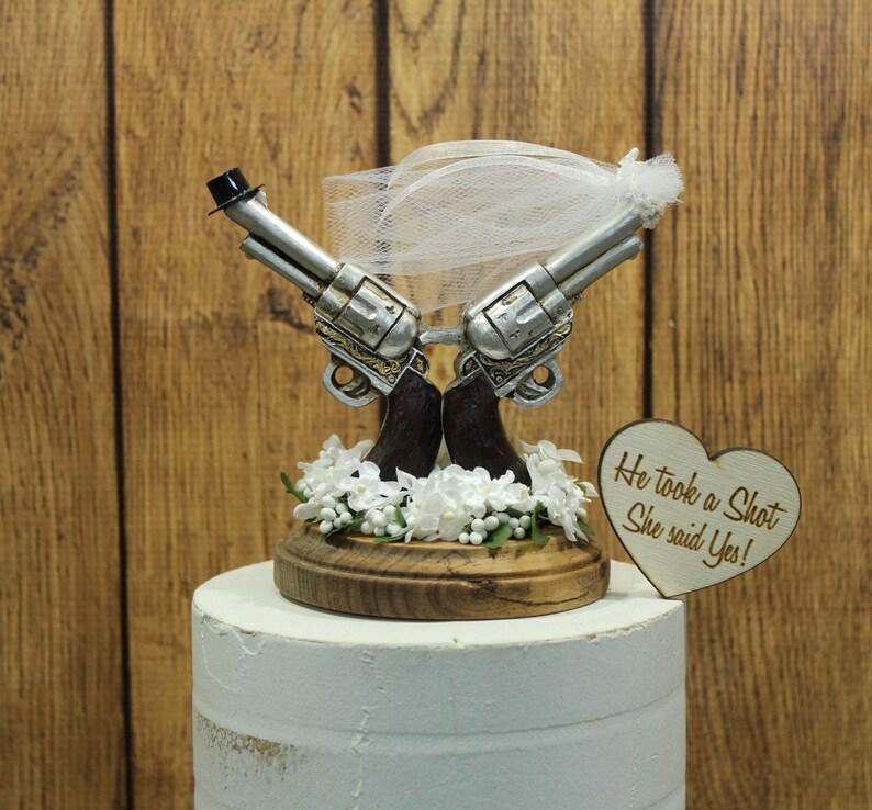 803bbbb5abf14 Pistol Cake Topper Gun Wedding Rustic Hunting Bride image 0 ...