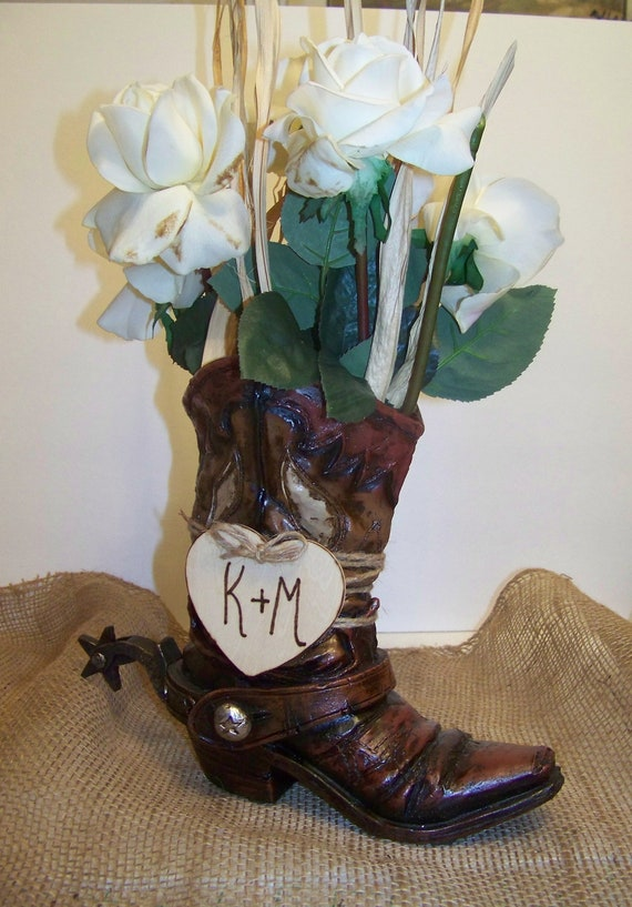 Rustic Wedding Centerpiece Cowboy Boot Flower Vase With Wooden Etsy