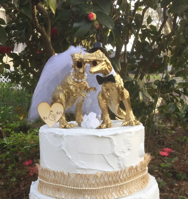 Dinosaur Wedding Cake Topper T-Rex Cake Topper Gold | Etsy