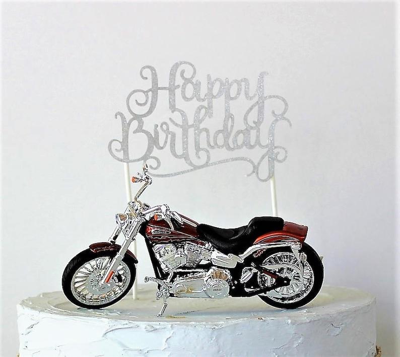 Motorcycle Cake Topper Happy Birthday
