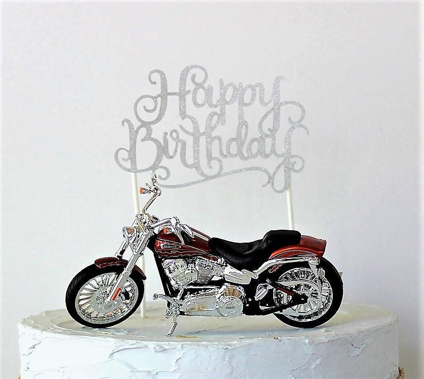 Motorcycle Cake Topper Happy Birthday Cake Topper Birthday ...