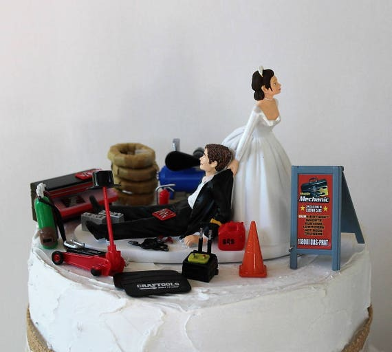 Humorous Wedding Cake Topper Funny Mechanic Grooms Cake Topper Garage Man Cave Car Tire Repair Shop Unique Bride And Groom Cake Topper