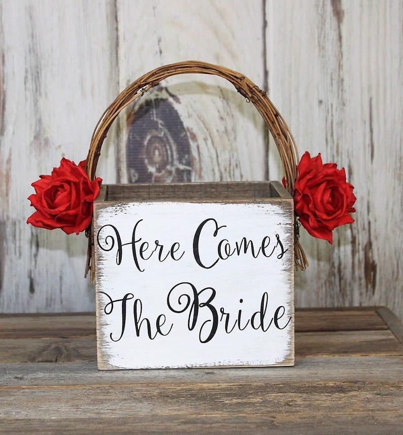 b6c48d92d8c Wooden Flower Girl Basket, Christmas Wedding, Here Comes The Bride , Rustic  Wedding, Shabby Chic Wedding Basket, White-Barn-Paper Flowers