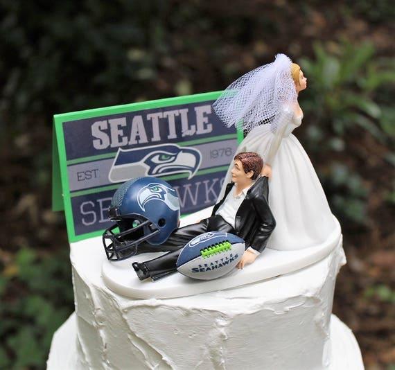 Seattle Seahawks Wedding Cake Topper Football