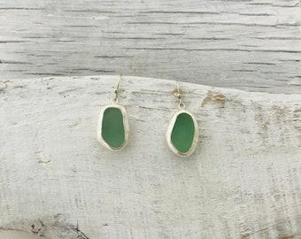 Real Sea Glass Earrings Bezeled in Sterling Silver