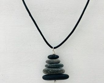 Tiny Cairn Sculpture Necklace-rock stacks