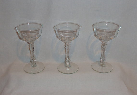 Set of 4 Libbey Clear Martini Glass Bent Z Crooked Stem Cocktail Barware
