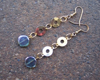 Eco-Friendly Dangle Earrings for Pierced Ears - A Delicate Balance - Recycled Vintage Goldtone Metal and Iridescent Blue Glass Disk Beads