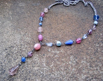Eco-Friendly Asymmetric Statement Y Shaped Necklace - Confection - Recycled Vintage Chain, Glass Beads in Pinks, Blues & Purples