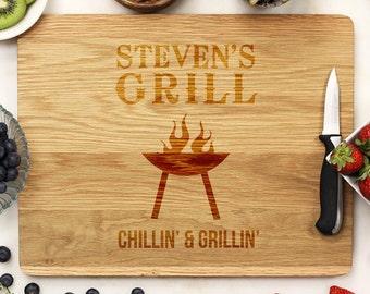 Personalized Cutting Board, Custom Cutting Board, Engraved Cutting Board, Grill BBQ Father's Day Dad White Oak Wood --21157-CUTB-004
