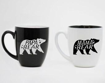 Maman ours, Papa ours, ensemble de tasse en céramique, fête des mères, fête des pères, cadeau des Parents, cadeau personnalisé, tasses en céramique mignons, Couples Mugs--27174-CM04-100
