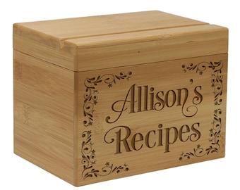 Boîte de recette, recette bois boite, cadeau de mariage, gravé recette, recette personnalisée personnalisé boîte, titulaire de la recette--28511-RB01-001