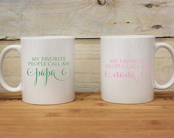 Papa et Nana Mugs, ensemble de tasse en céramique, tasses pour les grands-parents, la fête des mères, fête des pères, jour de grand-parents, tasses en céramique mignons--27149-CM05-601