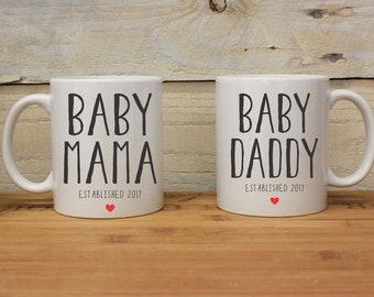 Baby Mama, papa de bébé, ensemble de tasse en céramique, tasses pour les Parents, la fête des mères, fête des pères, mignons tasses en céramique, tasses de Couples--27145-CM05-601