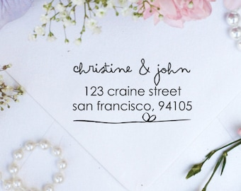 Personalized Custom Return Address Rubber Stamp, Wood Block, Clear Block, Monogram Wedding Address Stamper, Self Inking, Ink Pad --2276