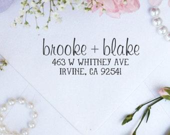 Personalized Custom Return Address Rubber Stamp, Wood Rubber Plastic Stamper, Bridal Wedding Address Stamper, Self Inking  --10038-PI12-000