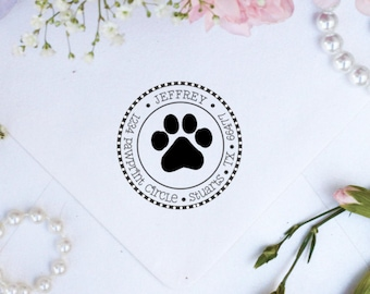 Paw print custom return address rubber stamp --2658