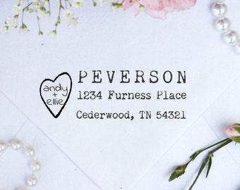 Personalized Custom Return Address Rubber Stamp, Wood Block, Clear Block, Heart Wedding Address Stamper, Self Inking, Ink Pad --3104