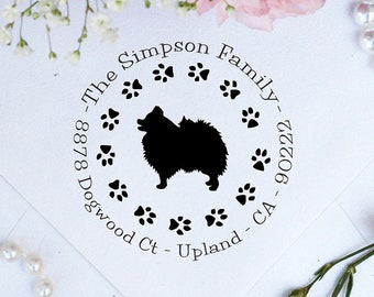 Pomeranian Dog Stamp, Pomeranian Lover Self Inking Custom Return Address Stamp, Cute Stamp for Pomeranian Lover, Dog Stamp --10359-PI53-000