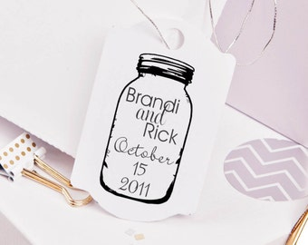 Mason Jar rubber stamp for DIY personalized wedding favors  and tags 2 x 3